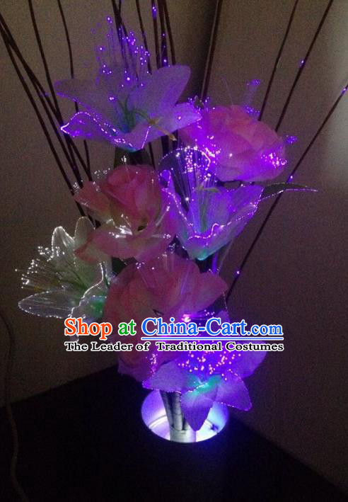 Traditional Handmade Chinese Purple Lily Flower Lanterns Electric LED Lights Lamps Desk Lamp Decoration