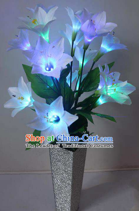 Traditional Handmade Chinese Lily Flowers Lanterns Electric LED Lights Lamps Desk Lamp Decoration