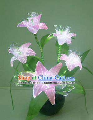 Traditional Handmade Chinese Pink Lily Flowers Lanterns Electric LED Lights Lamps Desk Lamp Decoration