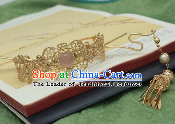 Traditional Chinese Ancient Handmade Phoenix Coronet Classical Hair Accessories Tassel Hairpins for Women