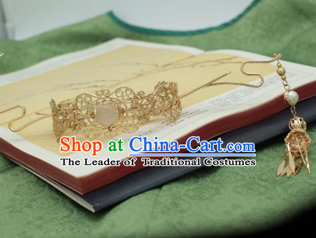 Traditional Chinese Ancient Handmade Golden Phoenix Coronet Classical Hair Accessories Tassel Hairpins for Women
