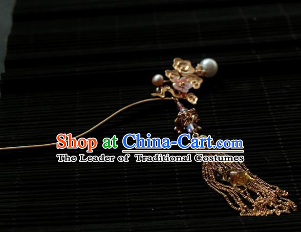 Traditional Chinese Ancient Tassel Step Shake Hair Clips Hair Accessories Handmade Hanfu Hairpins for Women