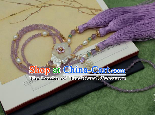Traditional Chinese Ancient Handmade Necklace Hanfu Purple Beads Tassel Necklets for Women