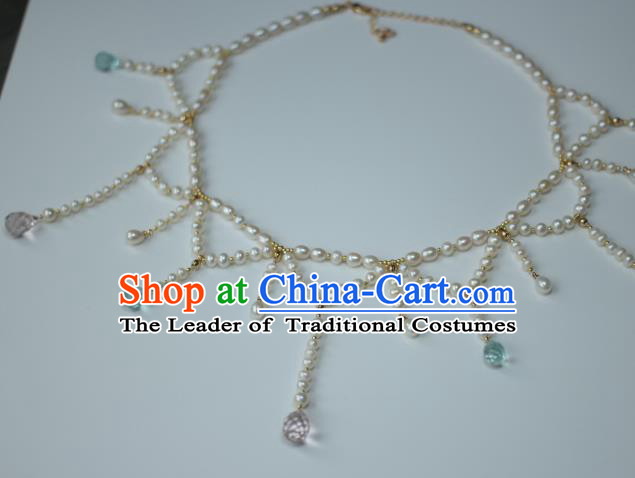 Traditional Chinese Ancient Conophytum Pucillum Handmade Pearls Necklace Hanfu Tassel Necklets for Women