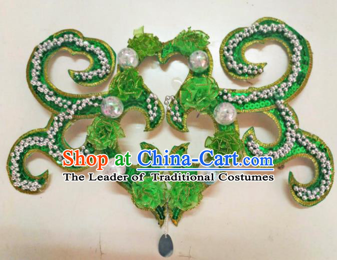 Chinese Traditional Classical Dance Hair Accessories Folk Dance Yangko Deep Green Flowers Headwear for Women