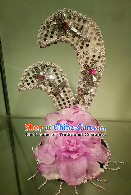 Chinese Classical Dance Pink Flowers Hair Accessories Traditional Folk Dance Headwear for Kids
