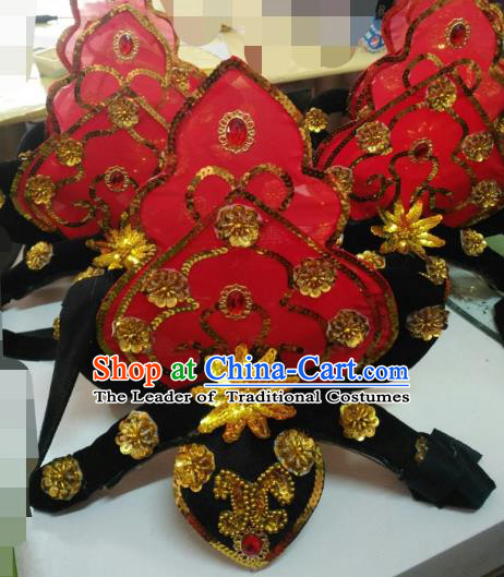 Chinese Classical Dance Red Hair Accessories Traditional Dunhuang Flying Apsaras Folk Dance Headwear for Women