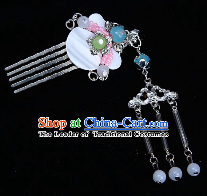 Chinese Ancient Hair Accessories Shell Hair Comb Traditional Tassel Hairpins Headwear for Women