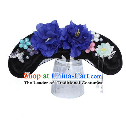 Chinese Ancient Manchu Princess Hair Accessories Wig and Royalblue Peony Hairpins Traditional Qing Dynasty Palace Lady Headwear for Kids