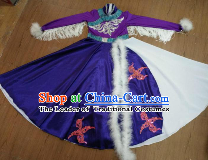 Traditional Chinese Mongolian Nationality Dance Costume, Folk Dance Yanko Swan Goose Dance Dress for Women