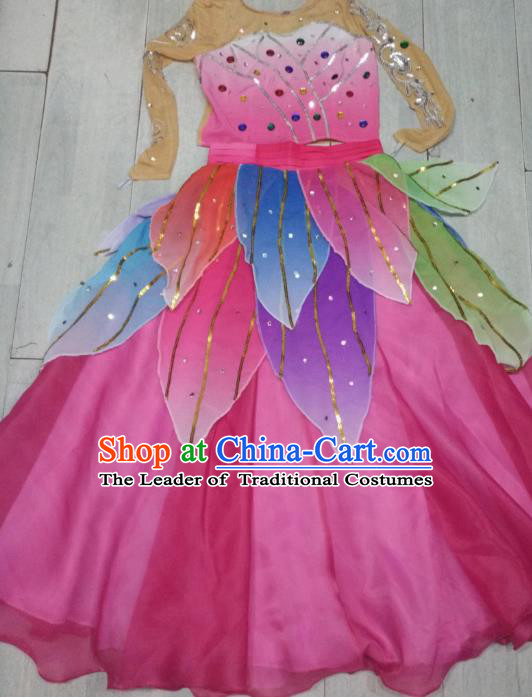 Traditional Chinese Classical Dance Costume, Folk Dance Yanko Lotus Dance Pink Dress for Women