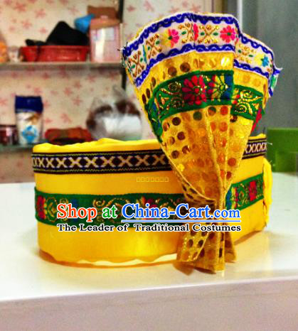 Chinese Classical Dance Hair Accessories Traditional Zang Nationality Dance Hats Headwear for Men