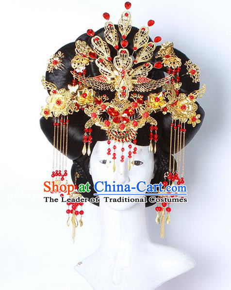 Chinese Ancient Hair Accessories Hanfu Imperial Consort Wig and Phoenix Coronet Hairpins Traditional Palace Lady Headwear for Women