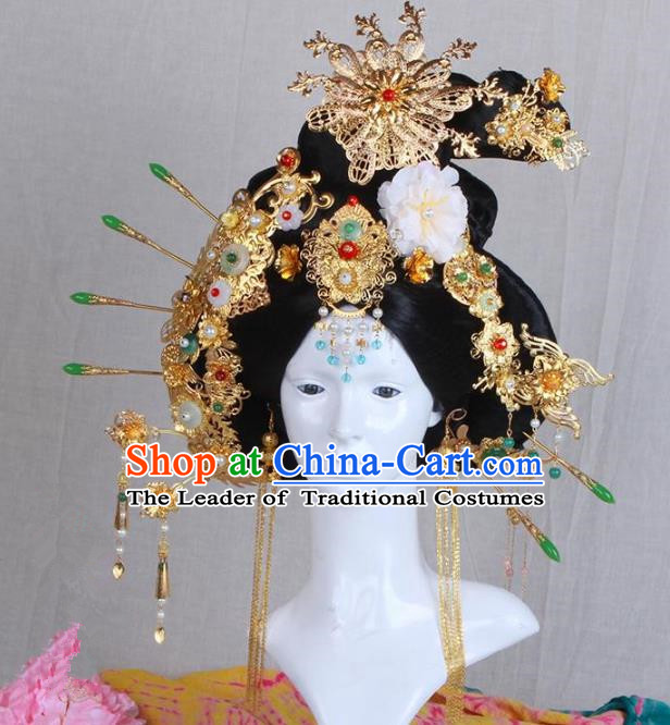 Chinese Ancient Hair Accessories Imperial Consort Wig and Phoenix Coronet Complete Set Traditional Palace Lady Headwear for Women