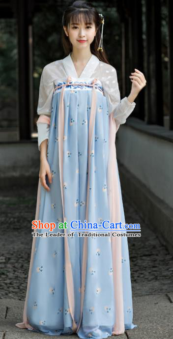 Traditional Chinese Ancient Court Lady Embroidered Costume Tang Dynasty Palace Princess Hanfu Dress for Women