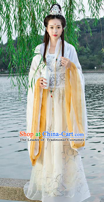 Traditional Chinese Ancient Goddess of Mercy Costume Tang Dynasty Palace Princess Hanfu Dress for Women