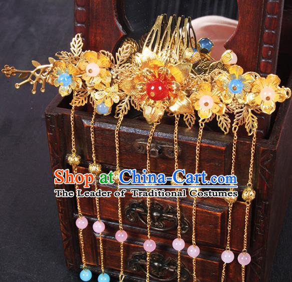 Chinese Ancient Hair Accessories Hanfu Hairpins Golden Phoenix Coronet Traditional Palace Headwear for Women