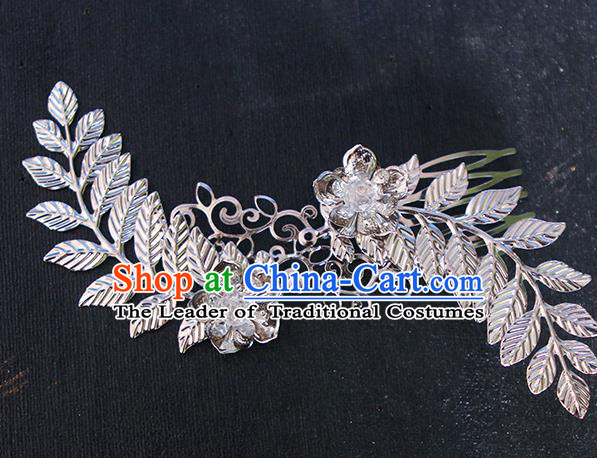 Chinese Ancient Hair Accessories Hanfu Hairpins Traditional Palace Leaf Hair Comb Headwear for Women