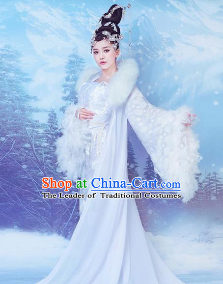 Traditional Chinese Ancient Moon Fairy Chang-E Costume Tang Dynasty Imperial Consort Hanfu Dress for Women