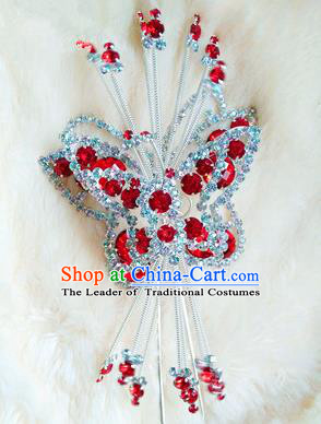 Chinese Traditional Folk Dance Hair Accessories Beijing Opera Butterfly Hairpins Headwear for Women