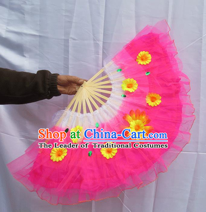 Chinese Traditional Folk Dance Folding Fans Classical Yangko Dance Pink Silk Fans for Women