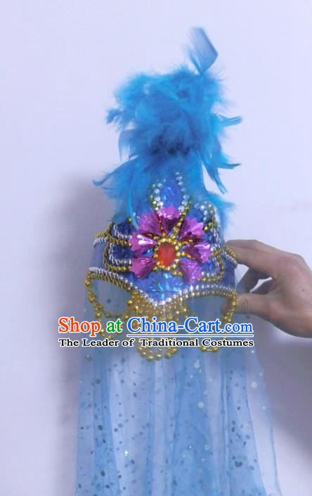 Chinese Traditional Folk Dance Hair Accessories Uyghur Nationality Dance Headwear Blue Feather Hats for Women