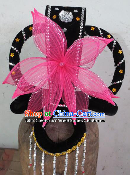 Chinese Traditional Beijing Opera Hair Accessories Classical Dance Pink Lotus Headwear for Women