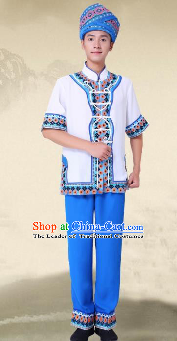 Traditional Chinese National Minority Costumes and Headwear Tujia Ethnic Minority Embroidery Clothing for Men