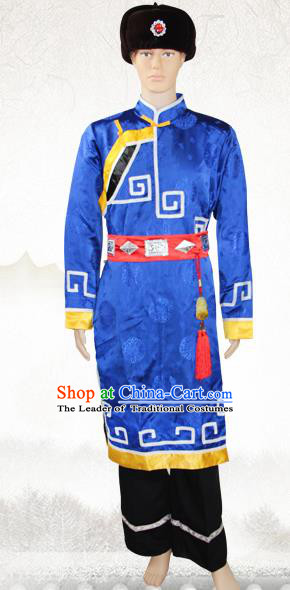 Traditional Chinese Mongol National Minority Costumes, Mongolian Ethnic Minority Embroidery Clothing for Men