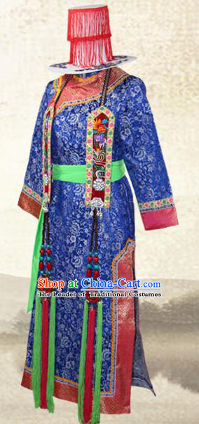 Traditional Chinese Yugu Nationality Costume, China Yuku Ethnic Minority Dance Clothing and Hats for Women
