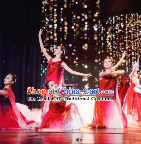 Traditional Chinese Folk Dance Costume, China Classical Dance Red Dress Clothing for Women