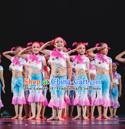 Traditional Chinese Folk Dance Yangko Costume, Children Classical Dance Dress Clothing for Kids