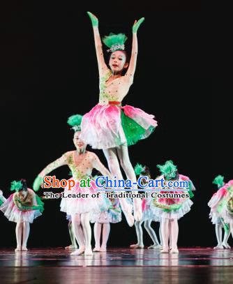 Traditional Chinese Folk Dance Lotus Dance Costume, Children Classical Dance Dress Clothing for Kids