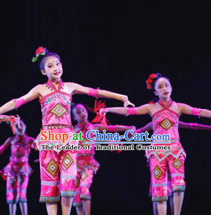 Traditional Chinese Tujia Nationality Folk Dance Costume, Children Classical Dance Dress Clothing for Kids