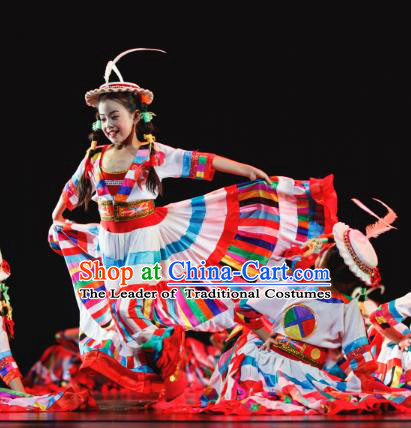 Traditional Chinese Nationality Folk Dance Costume, Children Classical Dance Dariga Dress Clothing for Kids