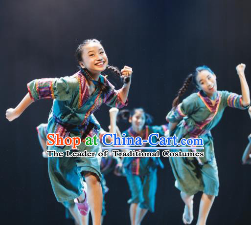 Traditional Chinese Folk Dance Costume, Children Classical Dance Yangge Dress Clothing for Kids