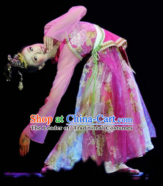 Traditional Chinese Folk Dance Embroidered Costume, China Classical Dance Pink Dress Clothing for Women