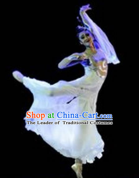 Traditional Chinese Folk Dance Umbrella Dance Costume, China Yangko Classical Dance Dress Clothing for Women