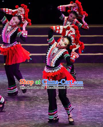 Traditional Chinese Folk Dance Tujia Ethnic Costume, China National Minority Dance Dress Clothing for Women