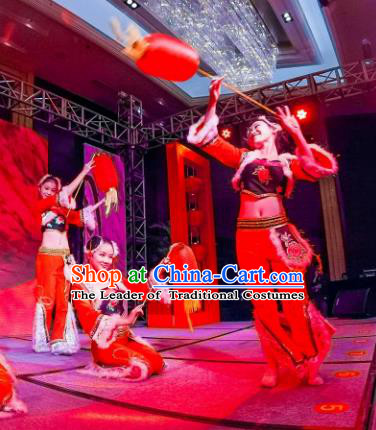 Chinese Traditional Folk Dance Classical Dance Stage Performance Costume, China Yangko Dance Clothing for Women
