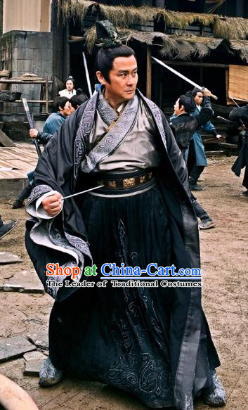Chinese Nirvana in Fire II Ancient Martial Arts Experts Swordsman Duan Tongzhou Embroidered Historical Costumes for Men