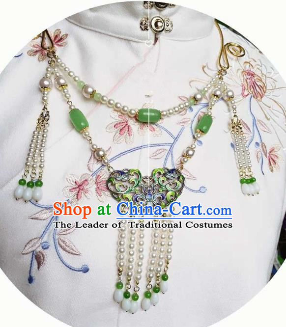 Chinese Traditional Ancient Accessories Classical Tassel Necklace Hanfu Handmade Necklet for Women