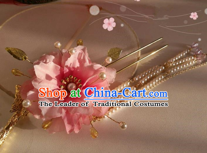 Chinese Traditional Ancient Hair Accessories Classical Pearls Tassel Hair Clip Hanfu Hairpins for Women