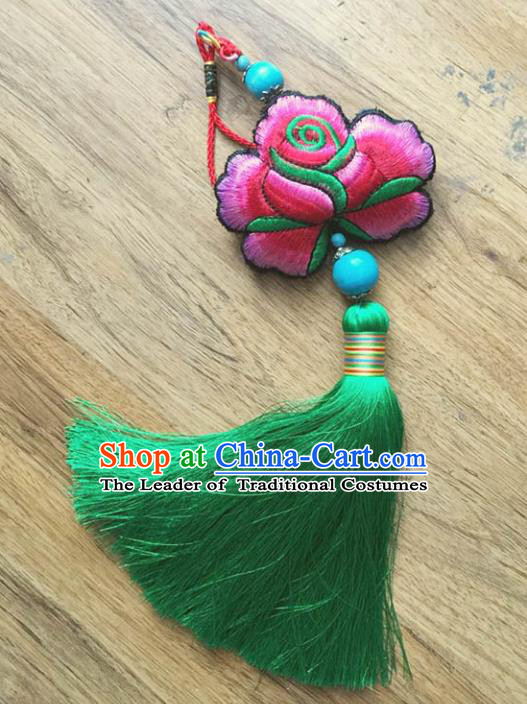 Chinese Traditional Embroidery Pendant Classical Handmade Embroidered Pink Lotus Craft for Women