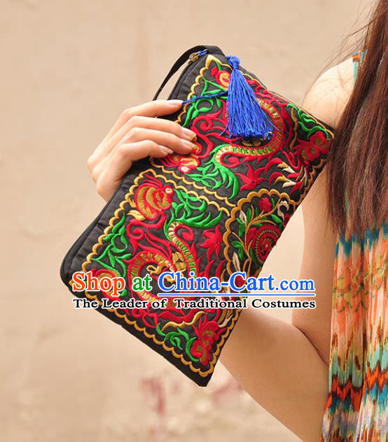 Chinese Traditional Embroidery Craft Embroidered Black Purse Handmade Handbag for Women