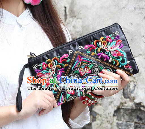 Chinese Traditional Embroidery Lotus Craft Embroidered Black Purse Handmade Handbag for Women