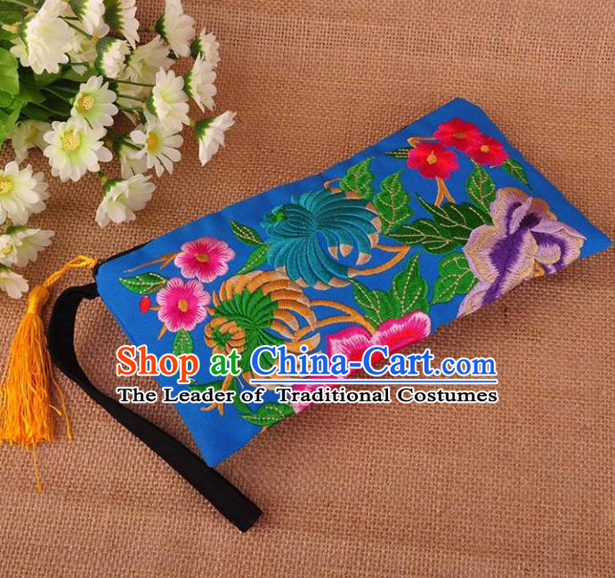 Chinese Traditional Embroidery Craft Embroidered Peony Blue Purse Handmade Handbag for Women