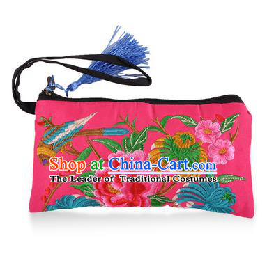 Chinese Traditional Embroidery Craft Embroidered Peony Pink Purse Handmade Handbag for Women
