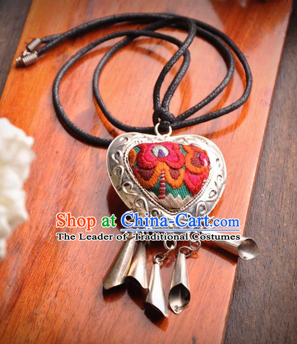 Chinese Traditional Embroidery Accessories Bells Pendant Classical Handmade Embroidered Necklace for Women