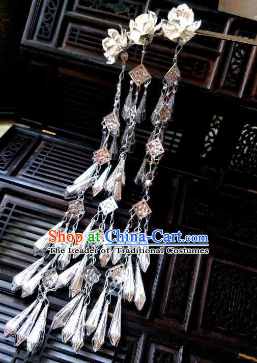 Chinese Traditional Ancient Hair Accessories Classical Hairpins Tassel Lotus Hair Clip Headwear for Women